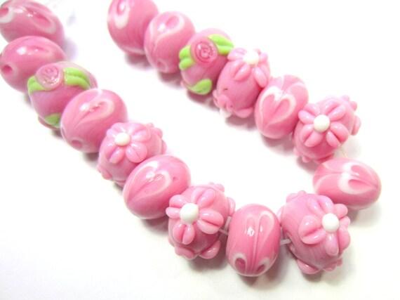 16 Pink lampwork glass beads w hearts 10mm 15mm beadwork supplies(SB1)