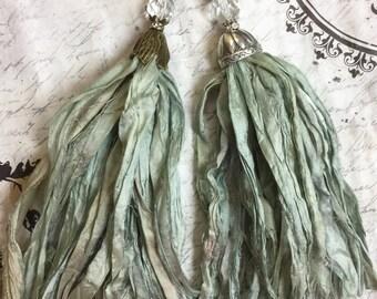 Handcrafted Tassel Pendant Seafoam and aqua Green Sari Silk Tassel Bohemian Pendant Antique Brass Flower Petal Bead Cap Altered Art #128