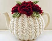 Blood Red Roses - Flower Garden Tea Cosy in Pure Wool - Ivory Cream Base - Size Medium - fits 4-6 cup teapots