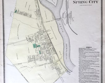 Original 1873 Chester County Atlas map of  Spring City Pennsylvania Hand Colored