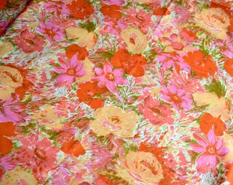 Vintage Fabric - Lovely Pink and Orange Watercolor Roses - By the Yard