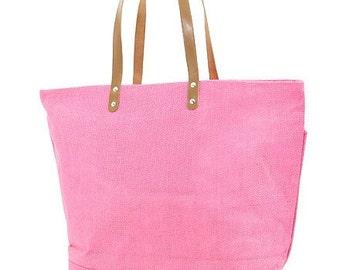 Clearance SALE Large Bubblegum Pink Jute Tote Weekender Bag