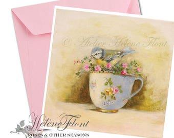 Carte, impression, voeux, d'après peinture - Oiseau, tasse Sevres, porcelaine, Limoges, roses miniatures © Hélène Flont Designss