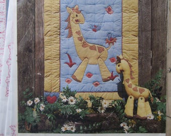 Gentle Giraffe, Craft Pattern for Appliqued Quilt and Soft Sculpture Toy, by The Gingham Goose, 1985, Sewing Pattern