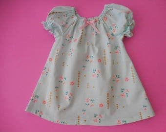 SALE--Last one ----Girls and babies peasant minty green with tiny pink floral accents in size 6-12 months