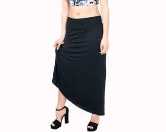 50% OFF Black Boho Skirt Hi Low Hem Midi Skirt High Waist Skirt Plus Size Skirt Asymmetric Skirt Stretch Knee Length Skirt Size XL