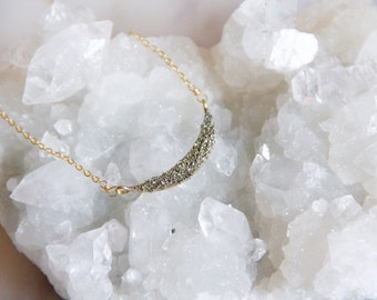 Pyrite Crescent Necklace, Small Collar Necklace