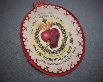 Antique Polish Catholic Sacred Heart of Jesus Sacramental Relic Badge