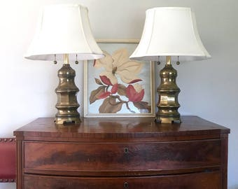 Pair of antiqued brass pagoda lamps, chinoiserie, hollywood regency