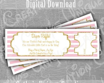 Black Friday Cyber Monday INSTANT DIGITAL DOWNLOAD Baby Girl Diaper Raffle Tickets Baby Shower Game Pink and Gold Printable Letter A4