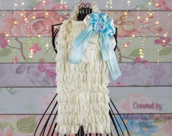 First Birthday Lace Romper, Cream Sky Baby Baby Girls Ruffle Pearl Strands Over Top, Rhinestones Ice Princess Outfit flower Ivory Photo Prop