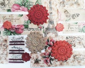 Handmade Embellishments. French Ribbon. French Scrap. French Country Stamped Embellishment. Crochet Flowers. Ecru. Rose Red. White. Tea Dye