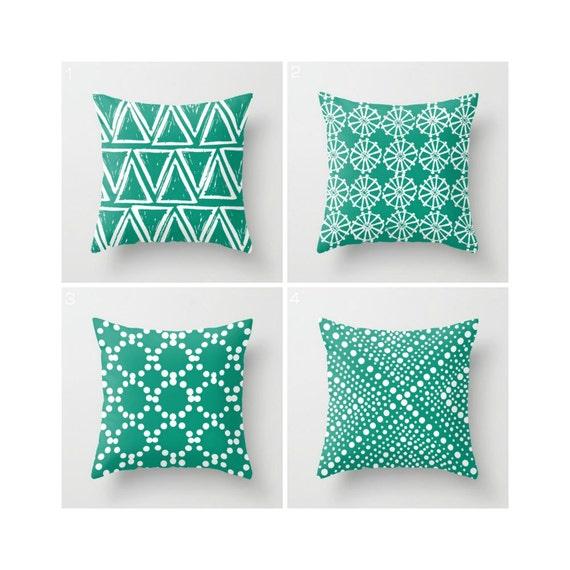 Emerald Green Throw Pillow - Modern Throw Pillow - Green Cushion - White Geometric triangle circle dot - Throw Pillow Cover 16 18 20 24 inch