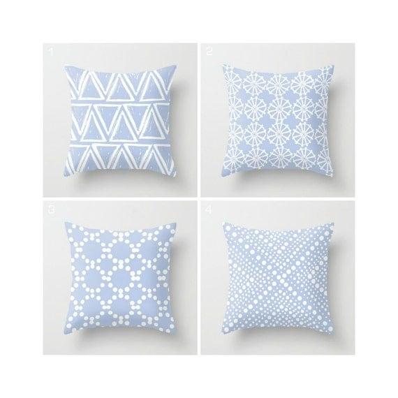 Periwinkle Throw Pillow - Modern Throw Pillow - Geometric Cushion - Blue Cushion - White Triangle - Hyacinth Throw Pillow 16 18 20 24 inch