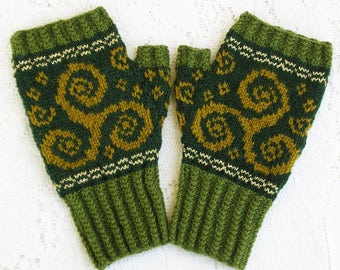 Knitting Kit - Kells Fingerless Mitts - Stranded Colorwork with Metallic Accents and Mock Cable Edgings