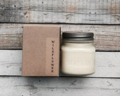 Wild Flower 8 oz Mason Jar Soy Candle Rustic Hand poured