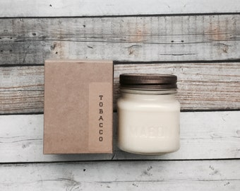 Tobacco 8 oz Mason Jar Soy Candle Rustic Hand poured