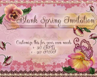 Pansy Spring Invitation Blank Downloadable