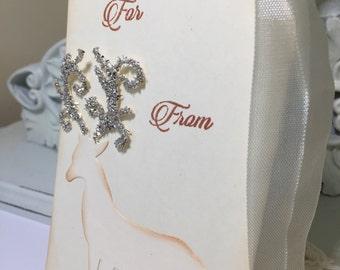 Christmas Gift Tags..Reindeer Tags...German Glass Glitter Gift Tags...Set of 3...SALE