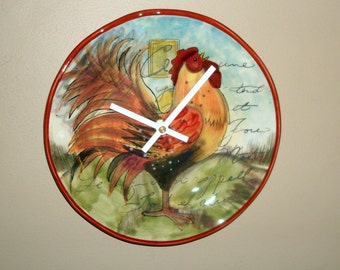 French Rooster Wall Clock, SILENT 9 Inch Unique Kitchen Wall Clock, Farm House Clock, Country Home Clock - 2249