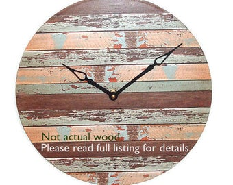 """10"""" or 12"""" SILENT Rustic Wall Clock, Reclaimed Wood IMAGE Wall Clock, Unique Wall Decor, Unique Wall Clock  (NOT Real Wood) - 1918"""