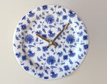 Blue and White Floral Wall Clock, 8 Inch Silent Ceramic Plate Wall Clock - 2341