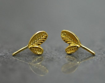 925 sterling silver mini ear studs - Golden Leafs