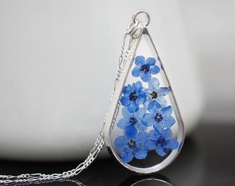 925 sterling silver necklace with real forget-me-not flowers