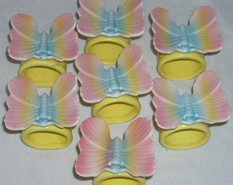 Fitz and Floyd Mid century Ceramic Butterfly Napkin Rings