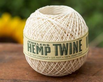 Hemp Beading Twine, 0.5mm, 325 feet,  Natural  Twine,  Gift Tag String -T95