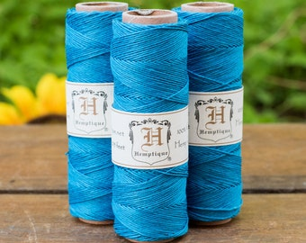 Hemp Cord  10lb,  0.5mm, Bead Cord, Hemp Thread, Blue Twine, Macrame Twine, Turquoise  -TW8