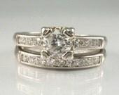 Old European Cut Diamond Vintage Wedding Rings Set With Single Cut Diamond Accents - Petite Size 4 - 14K White Gold