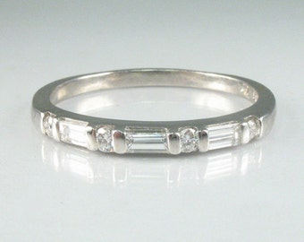 Estate Platinum and Diamond Wedding Ring With Round And Baguette Diamonds