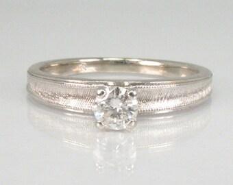 Vintage Diamond Engagement Solitaire Ring - 0.17 Carat Diamond - 14K White Gold