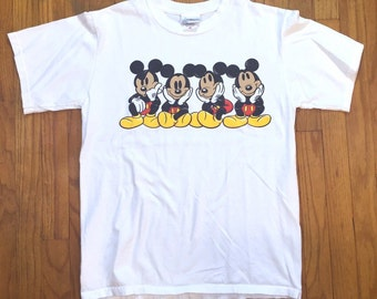 Vintage Mickey Mouse different moods t shirt medium.white.