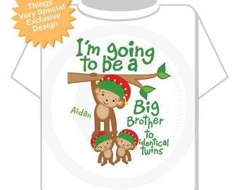 Boy's Personalized I'm Going to Be A Big Brother to Identical Twins Monkey Shirt or Onesie with Christmas Theme for Pregnancy (02122015a)