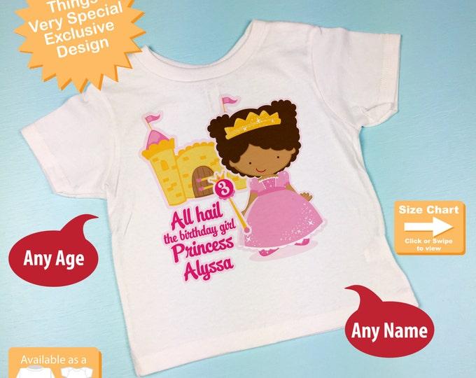 Third Birthday Shirt, African American Princess Birthday Shirt, Personalized Princess 3rd Birthday Girl Tshirt - 3 year old gift 09292016e