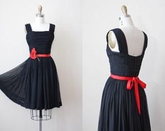 1950s Party Dress - Vintage 50s Dress - Black Silk Chiffon w Red Millinery Poppy Flower Belt Sundress S - Second Language Dress