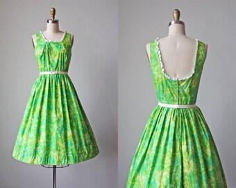 50s Dress - Vintage 1950s Dress - Vibrant Green Aqua Batik Print Cotton Full Skirt Sundress w Lace M - East of Java Dress