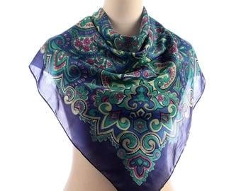ABSTRACT Print Silk Scarf . 80s Bohemian Neckerchief Shawl Paisley Printed Muffle Boho Neckscarf Retro Casual Womens Girlfriend Gift