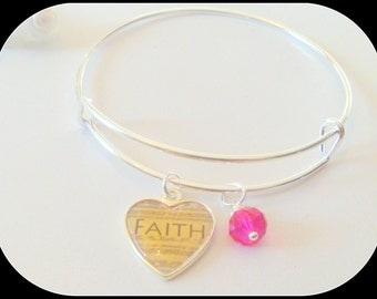 Faith Charm Adjustable Bangle Bracelet with Crystal Birthstone Charm