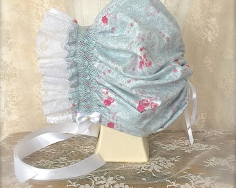 Baby Hand Smocked Blue Floral Portriat Bonnet Juvie Moon Designs, Lace and Satin Ribbon