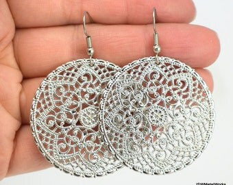 Ornate Silver Medallion Earrings, Shiny Silver Earrings, Round Filigree Earrings, Gift for her, Gift under 20