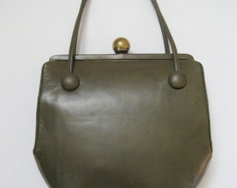 HOLIDAY SALE Vintage 1950s Original by Holzman olive green leather handbag. Joseph Shoes label.