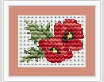 Poppies and Leaves Cross stitch kit from Luca-S. Ideal for Beginners. counted cross stitch kit