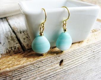 Pale Blue Czech Glass Earrings, Teardrop Earrings, Blue Earrings, Minimalist, Gold Earrings