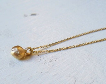 14k Gold Necklace / 14k Gold Ball Pendant / Gold Necklace / Gold Charm / Basic Gold Necklace / Handmade Gold Jewelry / Gift for Her