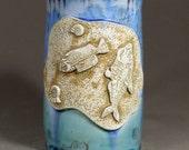 Fossil Fish Shell Sand Stamped Gold Sky Blue Teal Sapphire Crystalline Glazed Porcelain Bone Vertebrae Handle Large Beer Mug Stein