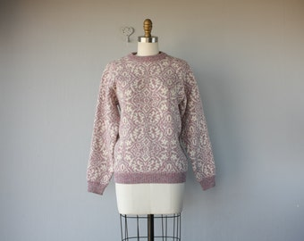 Vintage Wool Pullover | 80s Sweater | Pink Sweater | Shetland Wool Sweater | 1980s Intarsia Sweater