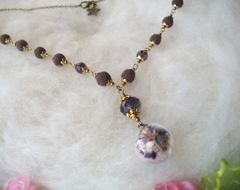 Rose Petal Bead Necklace with Glass Orb and Wild Flowers Fragrant Handmade Herbal Beads Natural Organic Homegrown
